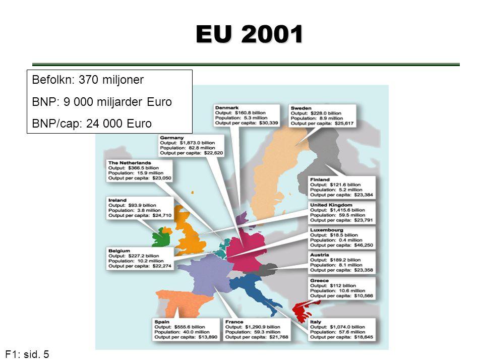 F1: sid. 5 EU 2001 EU 2001 Befolkn: 370 miljoner BNP: 9 000 miljarder Euro BNP/cap: 24 000 Euro