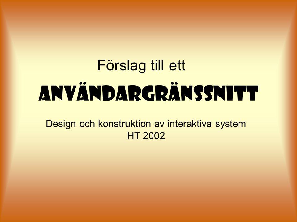 ANVÄNDARGRÄNSSNITT Förslag till ett Design och konstruktion av interaktiva system HT 2002