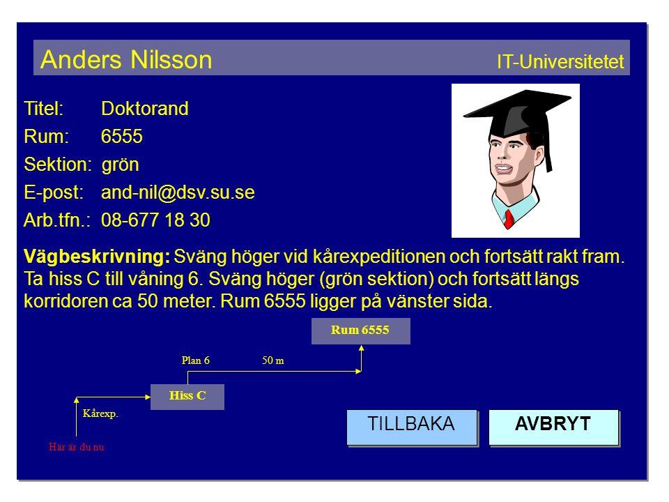 Titel: Doktorand Rum: 6555 Sektion: grön E-post: and-nil@dsv.su.se Arb.tfn.: 08-677 18 30 Vägbeskrivning: Sväng höger vid kårexpeditionen och fortsätt rakt fram.