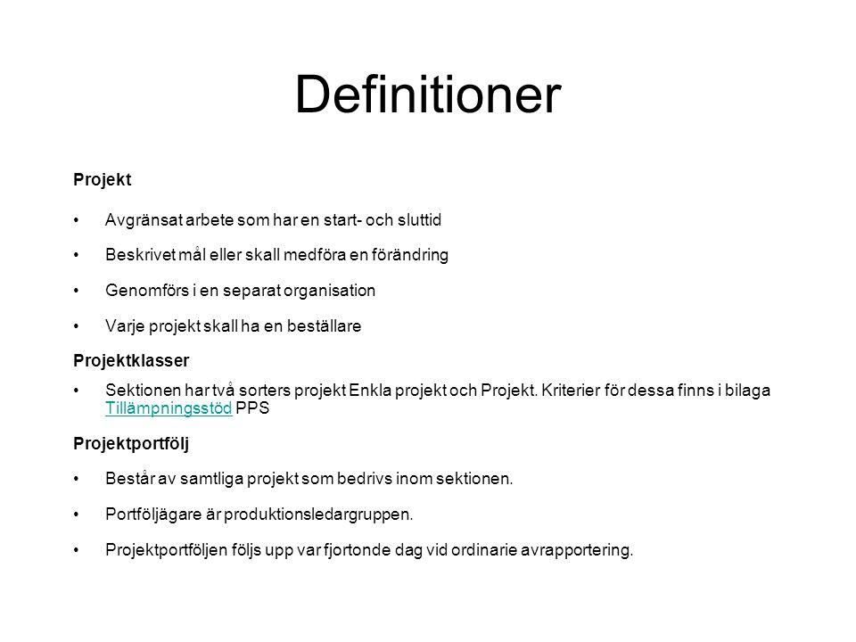 Vad är en projektpolicy? Beslutade riktlinjer för hur vi ska arbeta i projekt på sektionen Sätt att se på policyn Syfte