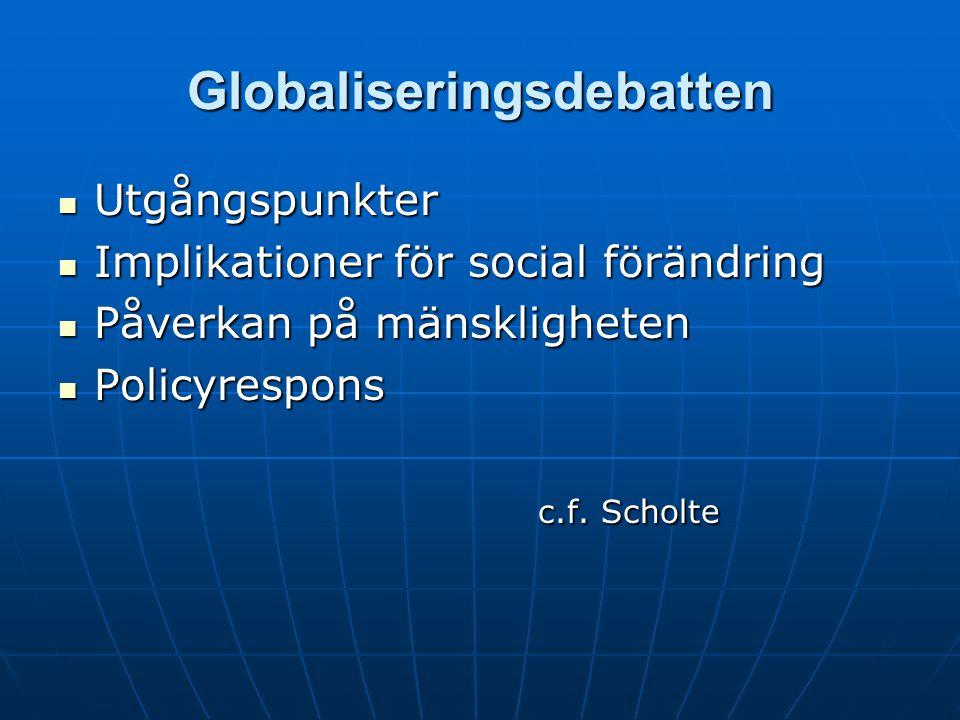 Globaliseringsdebatten Utgångspunkter Utgångspunkter Implikationer för social förändring Implikationer för social förändring Påverkan på mänskligheten Påverkan på mänskligheten Policyrespons Policyrespons c.f.