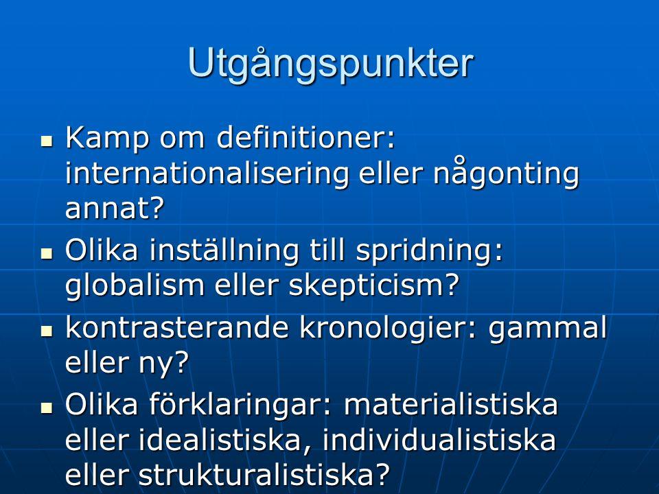 Utgångspunkter Kamp om definitioner: internationalisering eller någonting annat.