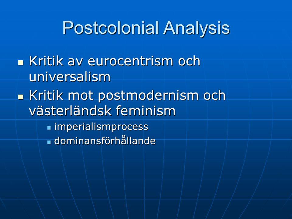 Postcolonial Analysis Kritik av eurocentrism och universalism Kritik av eurocentrism och universalism Kritik mot postmodernism och västerländsk feminism Kritik mot postmodernism och västerländsk feminism imperialismprocess imperialismprocess dominansförhållande dominansförhållande