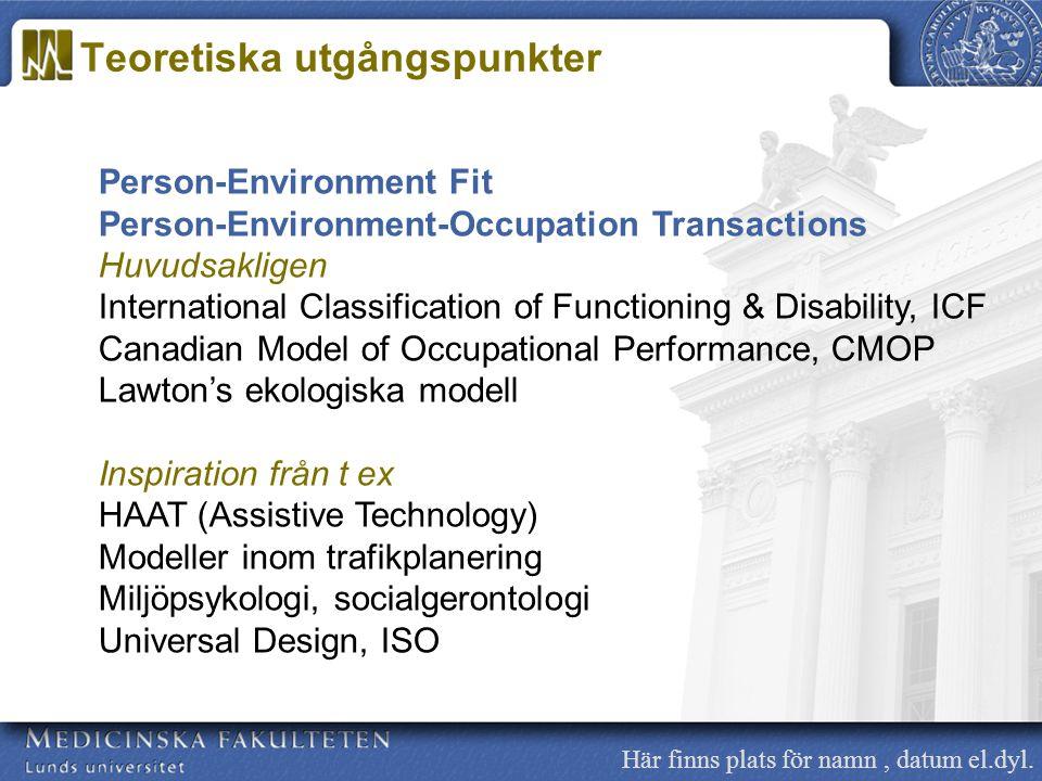 Här finns plats för namn, datum el.dyl. Person-Environment Fit Person-Environment-Occupation Transactions Huvudsakligen International Classification o