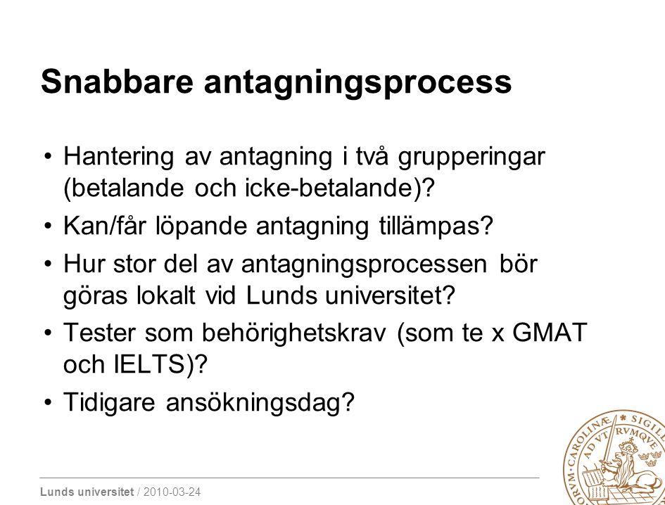 Lunds universitet / 2010-03-24 Snabbare antagningsprocess Hantering av antagning i två grupperingar (betalande och icke-betalande)? Kan/får löpande an
