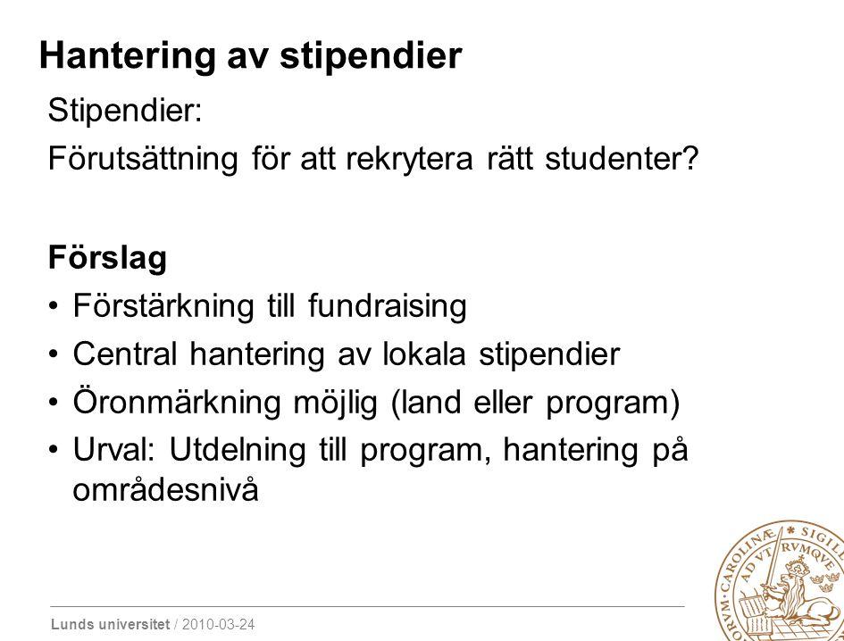 Lunds universitet / 2010-03-24 Hantering av stipendier Stipendier: Förutsättning för att rekrytera rätt studenter? Förslag Förstärkning till fundraisi