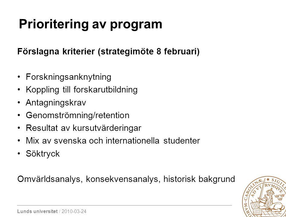 Lunds universitet / 2010-03-24 Prioritering av program Förslagna kriterier (strategimöte 8 februari) Forskningsanknytning Koppling till forskarutbildn