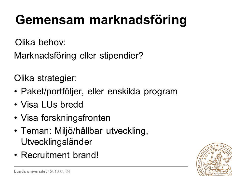 Lunds universitet / 2010-03-24 Gemensam marknadsföring Olika behov: Marknadsföring eller stipendier? Olika strategier: Paket/portföljer, eller enskild