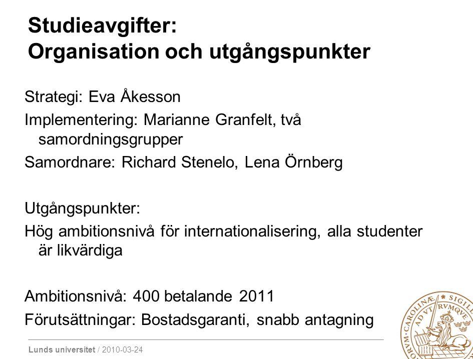 Lunds universitet / 2010-03-24 Studieavgifter: Organisation och utgångspunkter Strategi: Eva Åkesson Implementering: Marianne Granfelt, två samordning