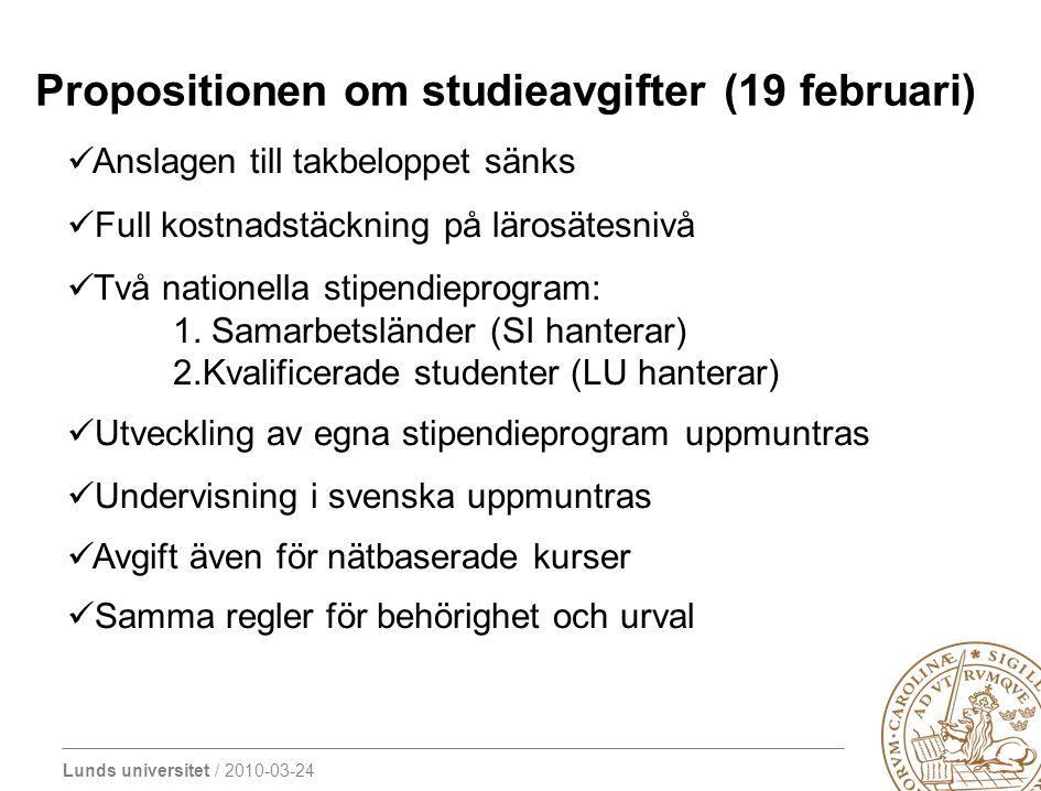Lunds universitet / 2010-03-24 Propositionen om studieavgifter (19 februari) Anslagen till takbeloppet sänks Full kostnadstäckning på lärosätesnivå Två nationella stipendieprogram: 1.