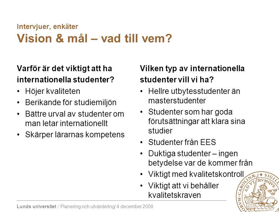 Lunds universitet / Planering och utvärdering/ 4 december 2009 Intervjuer, enkäter Vision & mål – vad till vem? Varför är det viktigt att ha internati