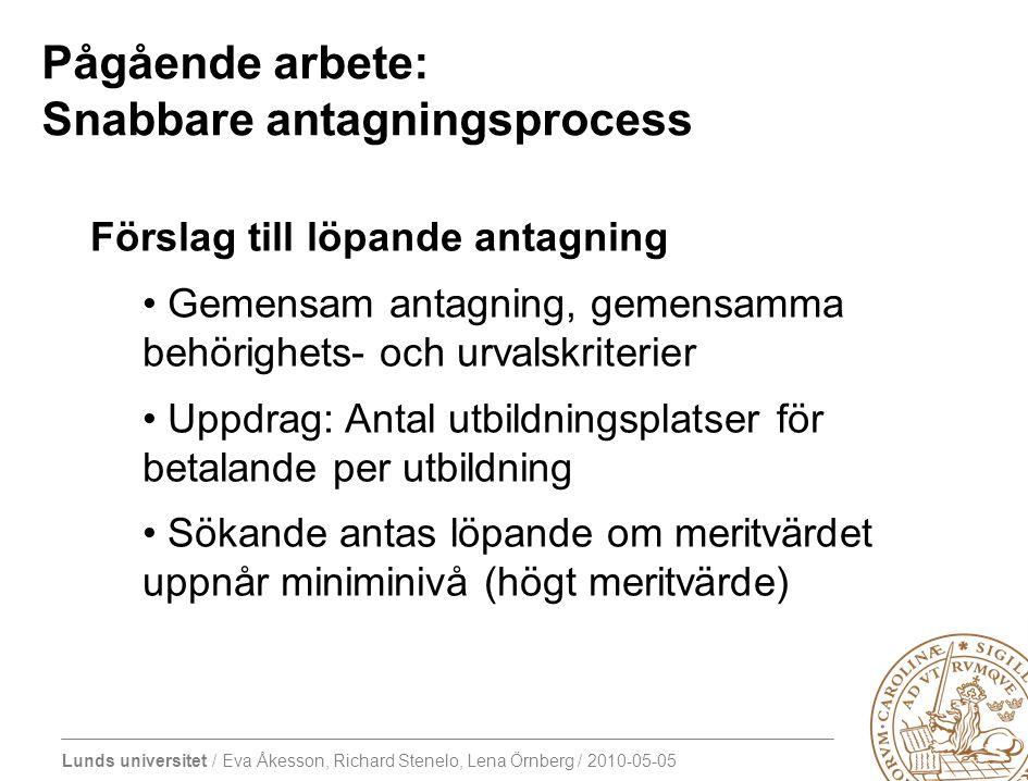 Lunds universitet / Eva Åkesson, Richard Stenelo, Lena Örnberg / 2010-05-05 Pågående arbete: Snabbare antagningsprocess Förslag till löpande antagning Gemensam antagning, gemensamma behörighets- och urvalskriterier Uppdrag: Antal utbildningsplatser för betalande per utbildning Sökande antas löpande om meritvärdet uppnår miniminivå (högt meritvärde)
