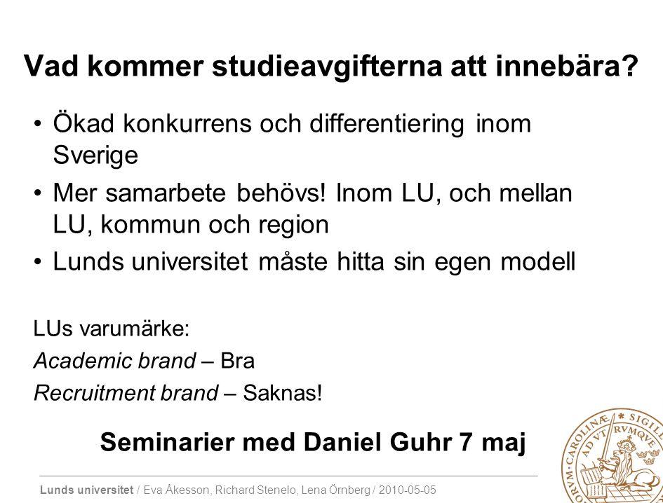 Lunds universitet / Eva Åkesson, Richard Stenelo, Lena Örnberg / 2010-05-05 Vad kommer studieavgifterna att innebära.