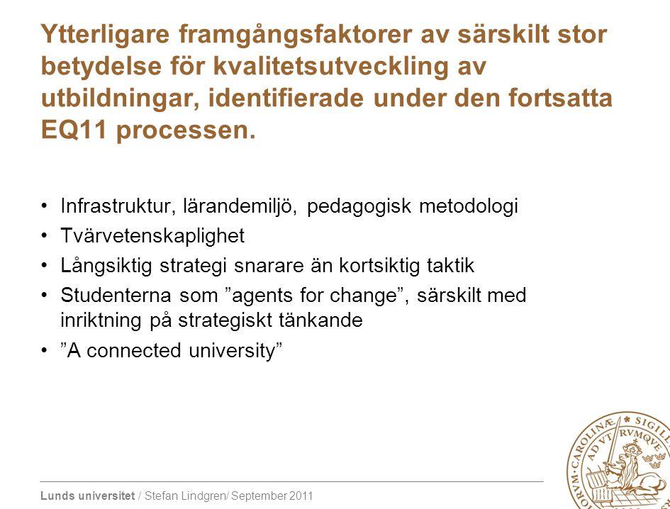 Lunds universitet / Stefan Lindgren/ September 2011 Ytterligare framgångsfaktorer av särskilt stor betydelse för kvalitetsutveckling av utbildningar, identifierade under den fortsatta EQ11 processen.