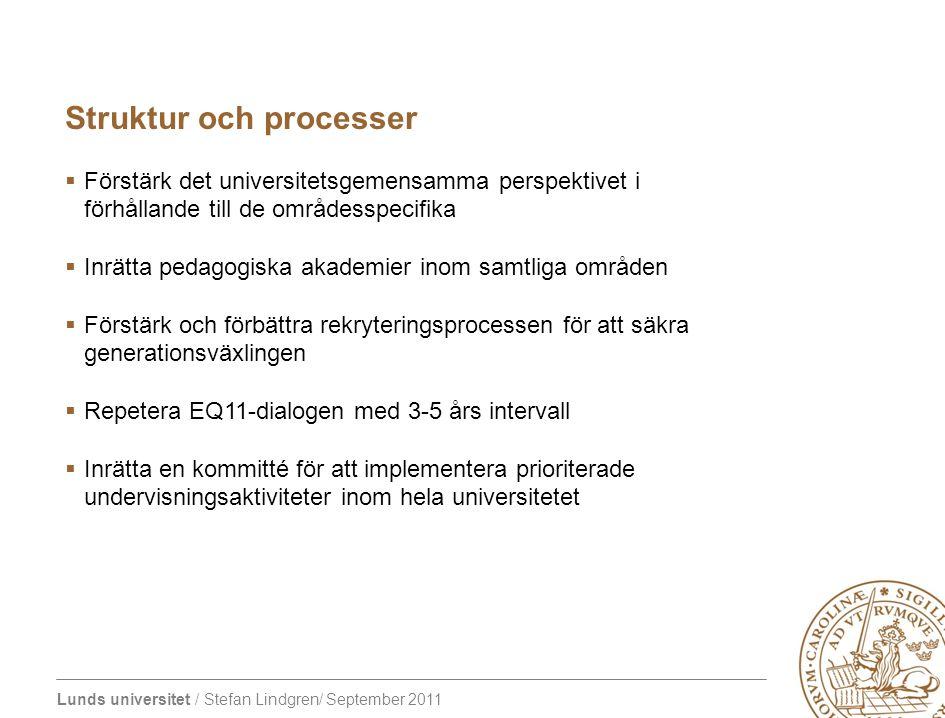 Lunds universitet / Stefan Lindgren/ September 2011 Struktur och processer  Förstärk det universitetsgemensamma perspektivet i förhållande till de områdesspecifika  Inrätta pedagogiska akademier inom samtliga områden  Förstärk och förbättra rekryteringsprocessen för att säkra generationsväxlingen  Repetera EQ11-dialogen med 3-5 års intervall  Inrätta en kommitté för att implementera prioriterade undervisningsaktiviteter inom hela universitetet