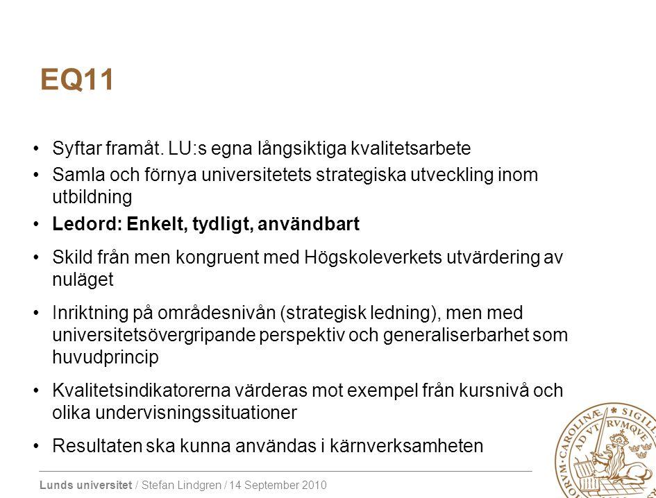 Lunds universitet / Stefan Lindgren / 14 September 2010 EQ11 – Långsiktiga effekter 1.