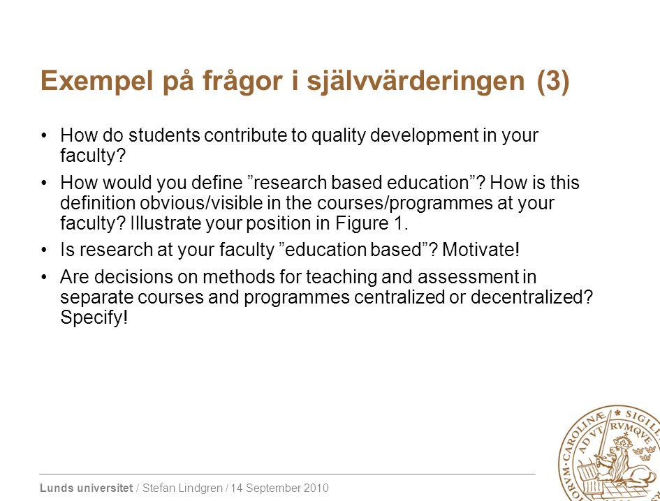 Lunds universitet / Stefan Lindgren / 14 September 2010 Exempel på frågor i självvärderingen (3) How do students contribute to quality development in your faculty.
