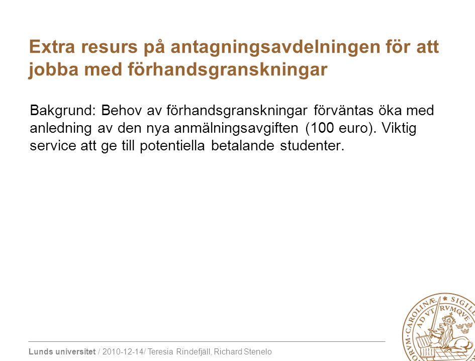 Lunds universitet / 2010-12-14/ Teresia Rindefjäll, Richard Stenelo Bakgrund: Behov av förhandsgranskningar förväntas öka med anledning av den nya anm