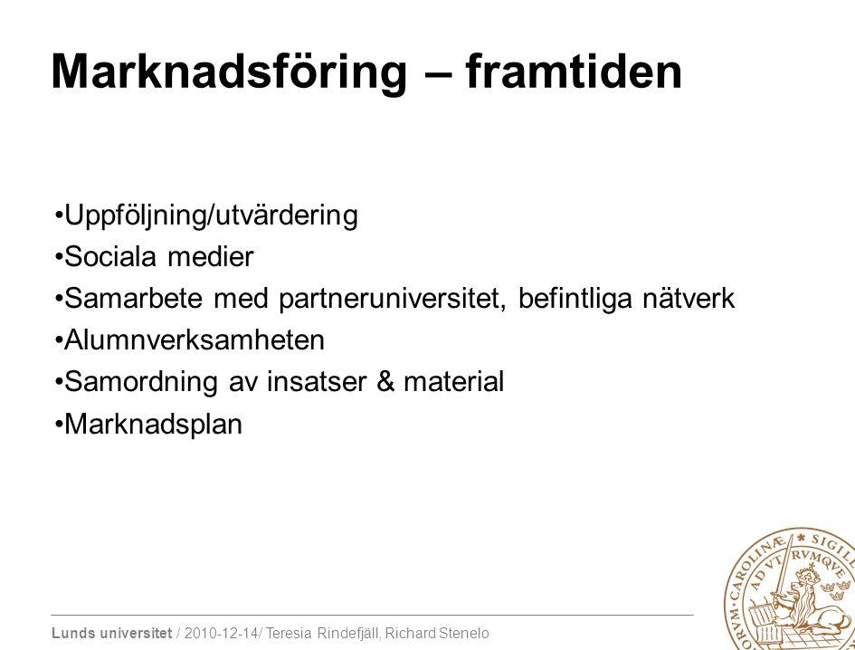 Lunds universitet / 2010-12-14/ Teresia Rindefjäll, Richard Stenelo Marknadsföring – framtiden Uppföljning/utvärdering Sociala medier Samarbete med pa