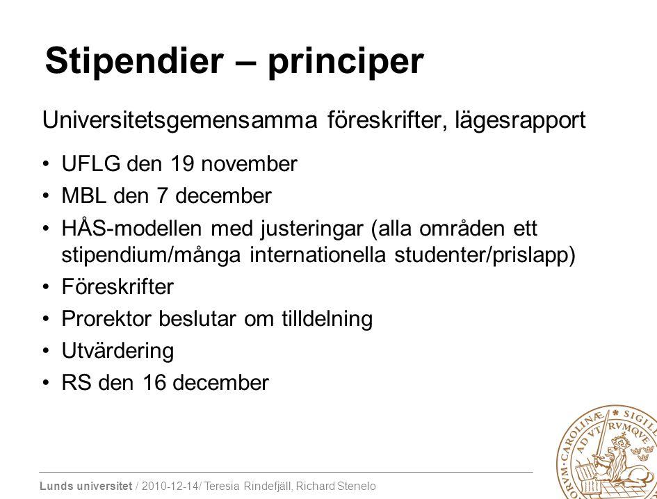 Lunds universitet / 2010-12-14/ Teresia Rindefjäll, Richard Stenelo Stipendier – principer Universitetsgemensamma föreskrifter, lägesrapport UFLG den