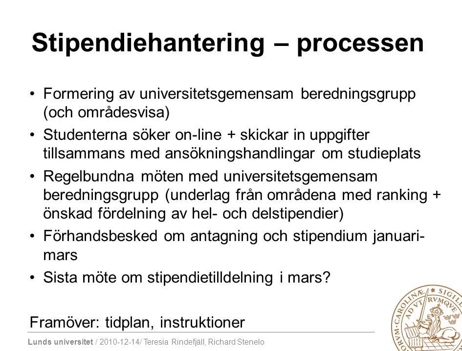 Lunds universitet / 2010-12-14/ Teresia Rindefjäll, Richard Stenelo Stipendiehantering – processen Formering av universitetsgemensam beredningsgrupp (