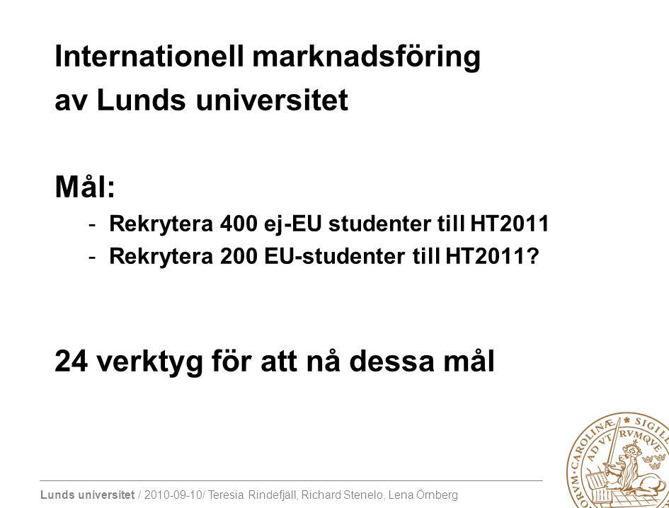 Lunds universitet / 2010-09-10/ Teresia Rindefjäll, Richard Stenelo, Lena Örnberg Internationell marknadsföring av Lunds universitet Mål: -Rekrytera 4