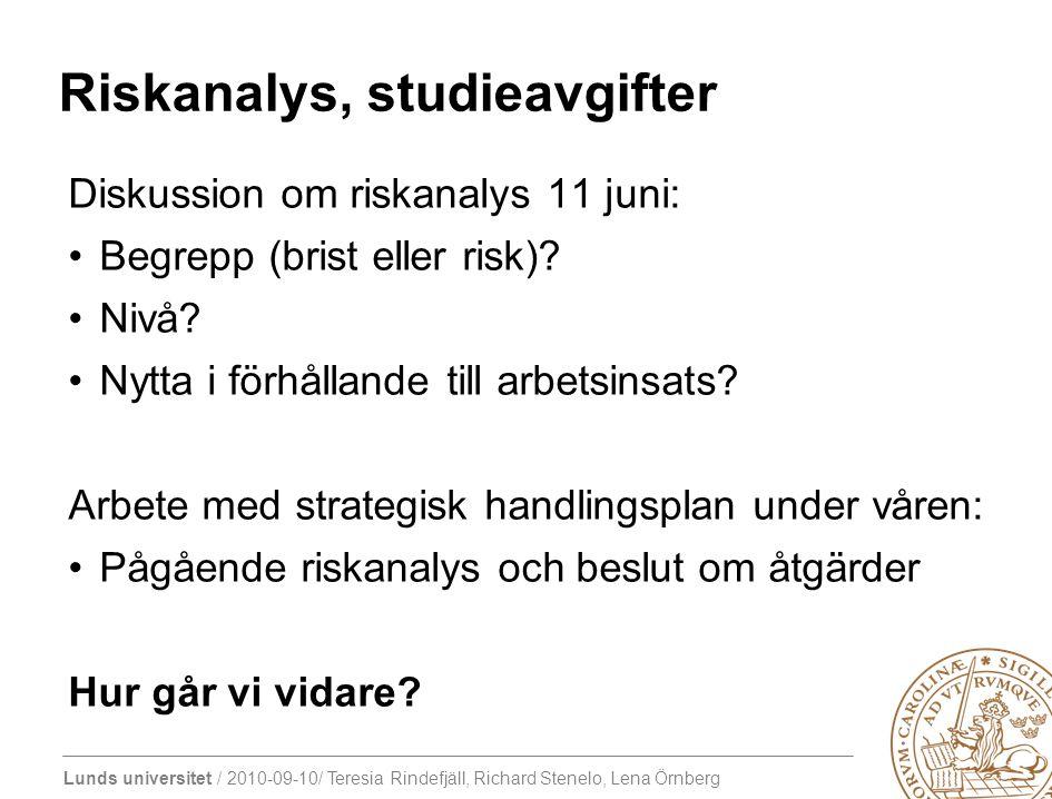Lunds universitet / 2010-09-10/ Teresia Rindefjäll, Richard Stenelo, Lena Örnberg Riskanalys, studieavgifter Diskussion om riskanalys 11 juni: Begrepp