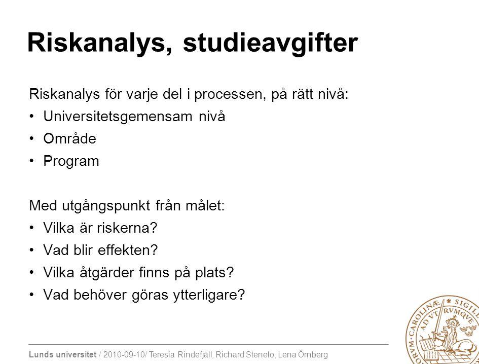 Lunds universitet / 2010-09-10/ Teresia Rindefjäll, Richard Stenelo, Lena Örnberg Riskanalys, studieavgifter Riskanalys för varje del i processen, på