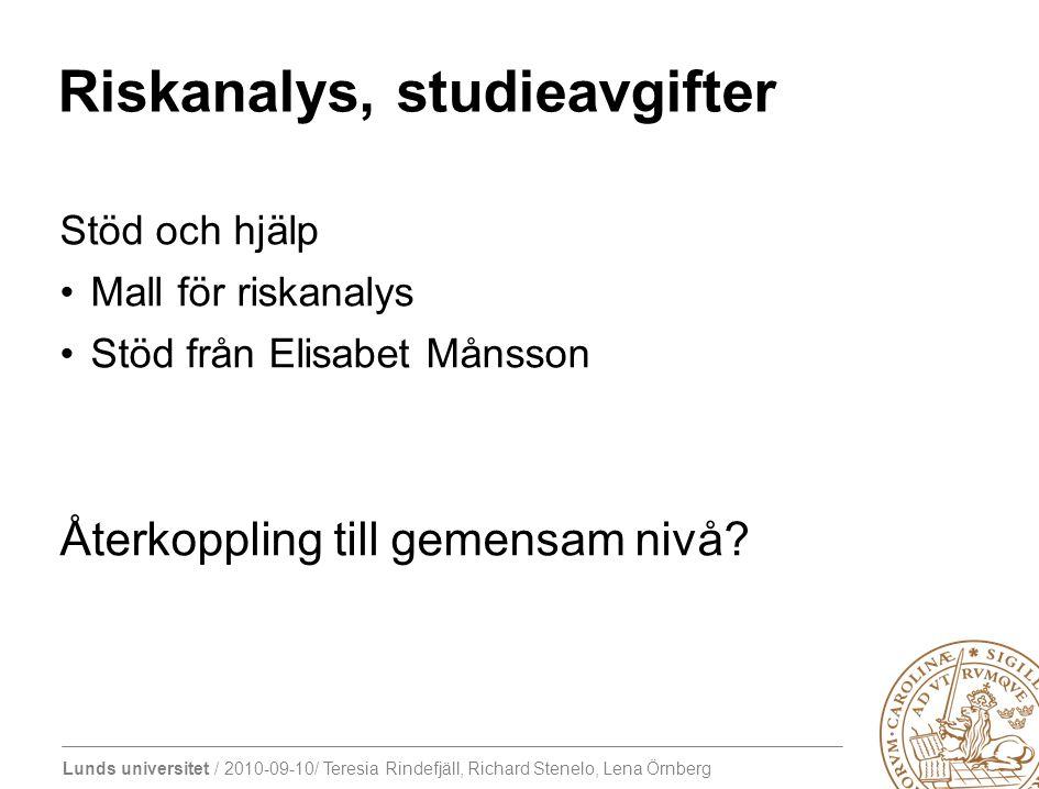 Lunds universitet / 2010-09-10/ Teresia Rindefjäll, Richard Stenelo, Lena Örnberg Riskanalys, studieavgifter Stöd och hjälp Mall för riskanalys Stöd f