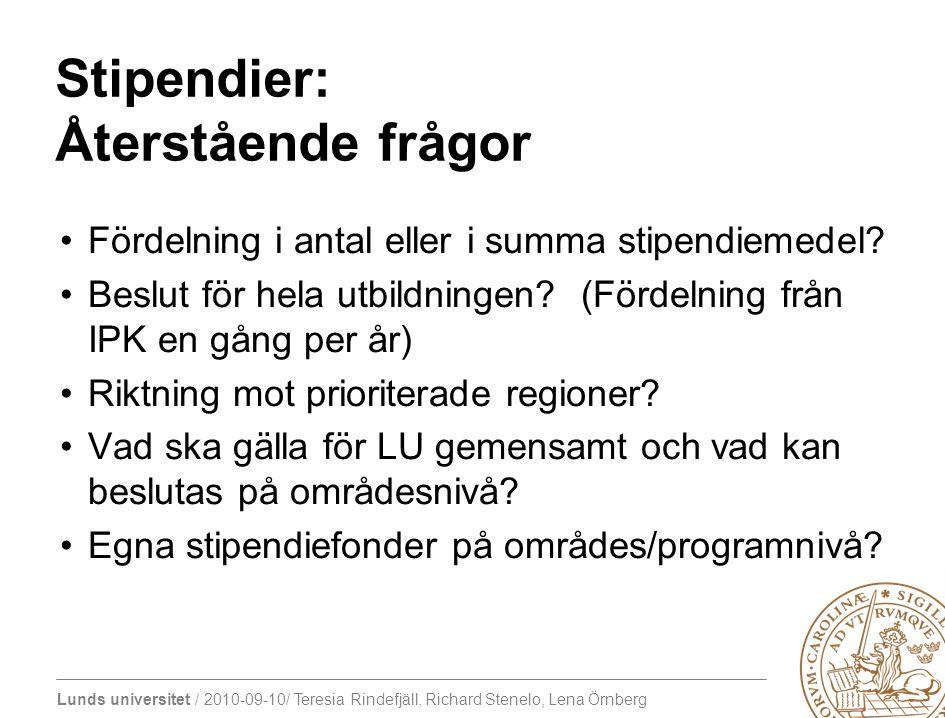 Lunds universitet / 2010-09-10/ Teresia Rindefjäll, Richard Stenelo, Lena Örnberg Stipendier: Återstående frågor Fördelning i antal eller i summa stip