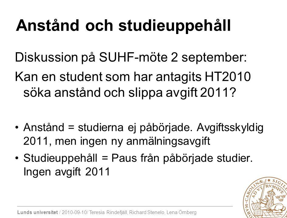 Lunds universitet / 2010-09-10/ Teresia Rindefjäll, Richard Stenelo, Lena Örnberg Anstånd och studieuppehåll Diskussion på SUHF-möte 2 september: Kan