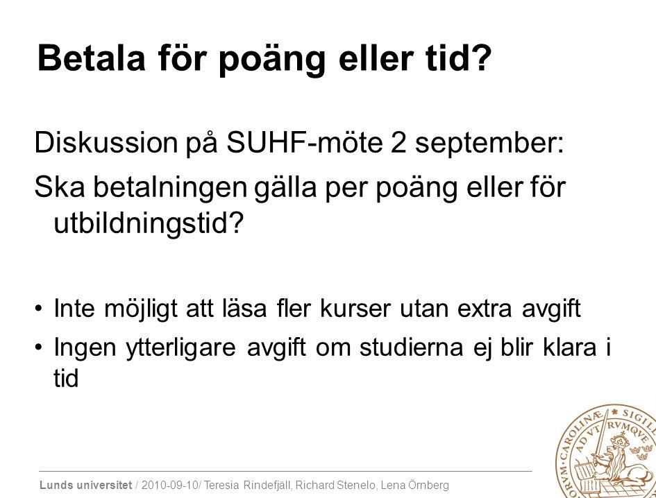 Lunds universitet / 2010-09-10/ Teresia Rindefjäll, Richard Stenelo, Lena Örnberg Betala för poäng eller tid? Diskussion på SUHF-möte 2 september: Ska