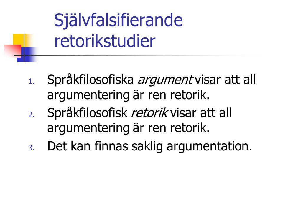 Självfalsifierande retorikstudier 1. Språkfilosofiska argument visar att all argumentering är ren retorik. 2. Språkfilosofisk retorik visar att all ar