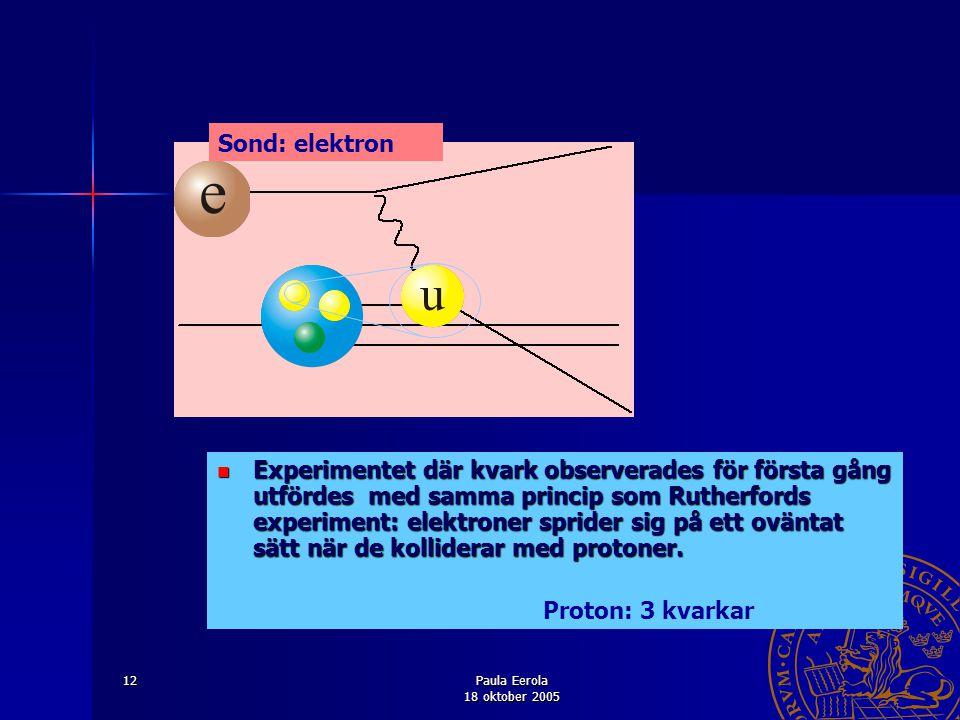 Paula Eerola 18 oktober 2005 12 Experimentet där kvark observerades för första gång utfördes med samma princip som Rutherfords experiment: elektroner