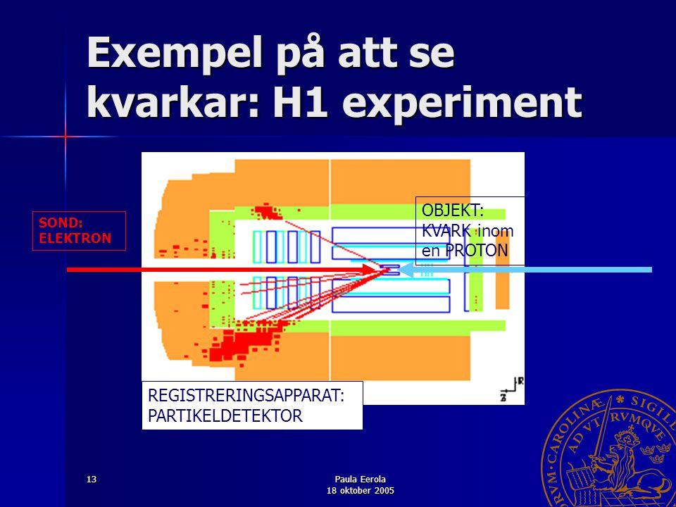 Paula Eerola 18 oktober 2005 13 Exempel på att se kvarkar: H1 experiment SOND: ELEKTRON OBJEKT: KVARK inom en PROTON REGISTRERINGSAPPARAT: PARTIKELDET