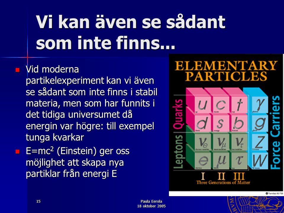 Paula Eerola 18 oktober 2005 15 Vi kan även se sådant som inte finns... Vid moderna partikelexperiment kan vi även se sådant som inte finns i stabil m