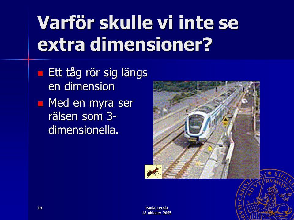 Paula Eerola 18 oktober 2005 19 Varför skulle vi inte se extra dimensioner? Ett tåg rör sig längs en dimension Ett tåg rör sig längs en dimension Med
