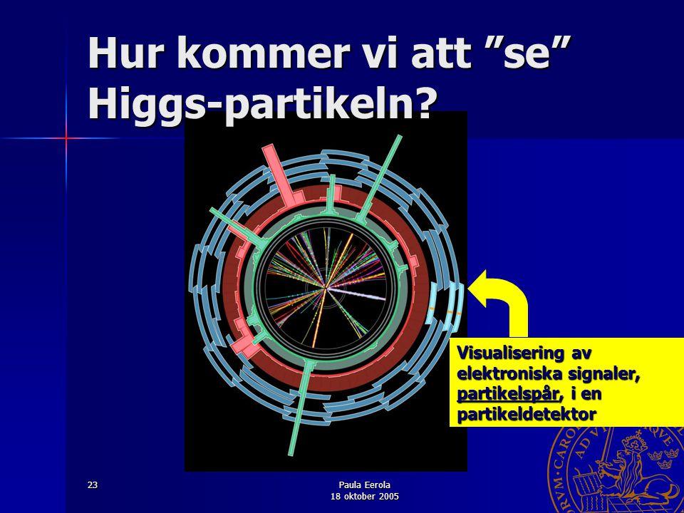 """Paula Eerola 18 oktober 2005 23 HIGGS Hur kommer vi att """"se"""" Higgs-partikeln? Visualisering av elektroniska signaler, partikelspår, i en partikeldetek"""
