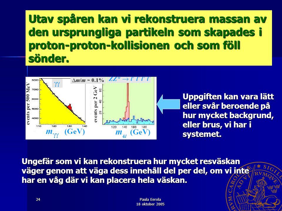 Paula Eerola 18 oktober 2005 24 Utav spåren kan vi rekonstruera massan av den ursprungliga partikeln som skapades i proton-proton-kollisionen och som
