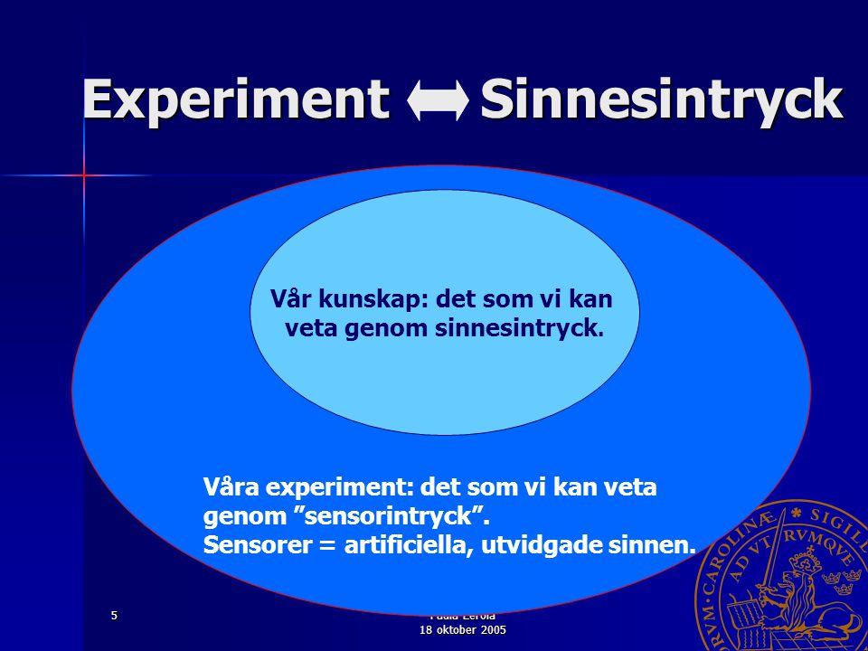 """Paula Eerola 18 oktober 2005 5 Våra experiment: det som vi kan veta genom """"sensorintryck"""". Sensorer = artificiella, utvidgade sinnen. Vår kunskap: det"""