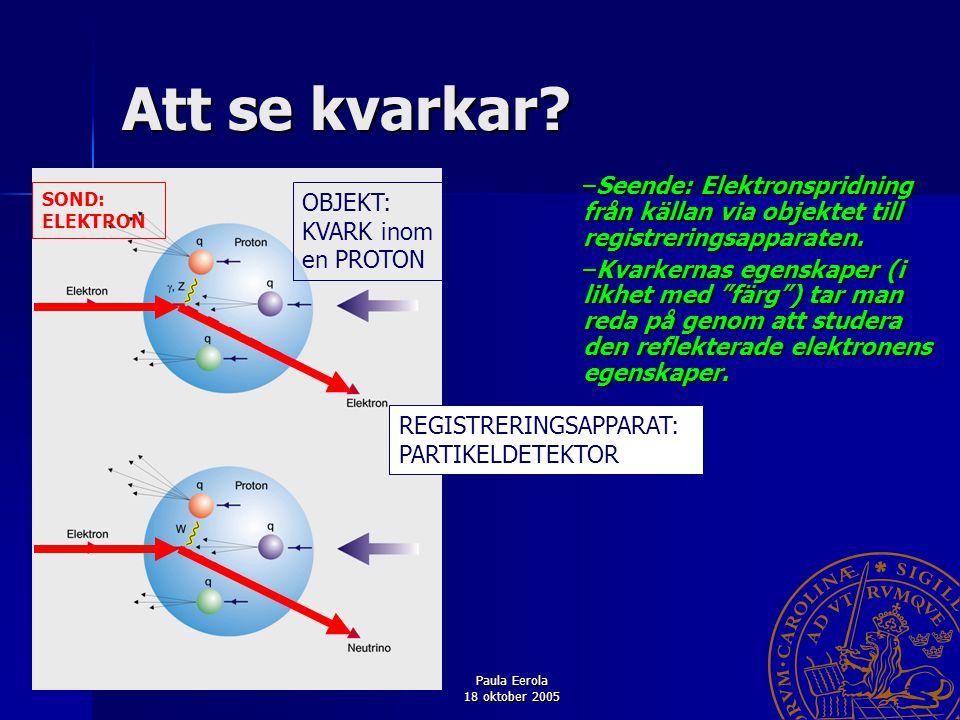 Paula Eerola 18 oktober 2005 9 Att se kvarkar? –Seende: Elektronspridning från källan via objektet till registreringsapparaten. –Kvarkernas egenskaper