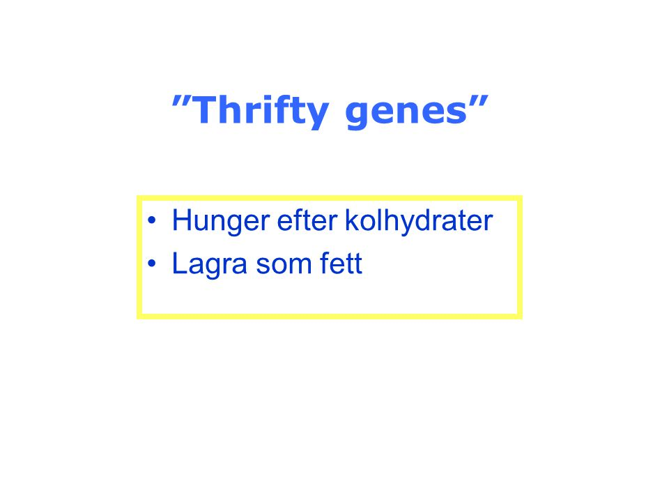 """""""Thrifty genes"""" Hunger efter kolhydrater Lagra som fett"""