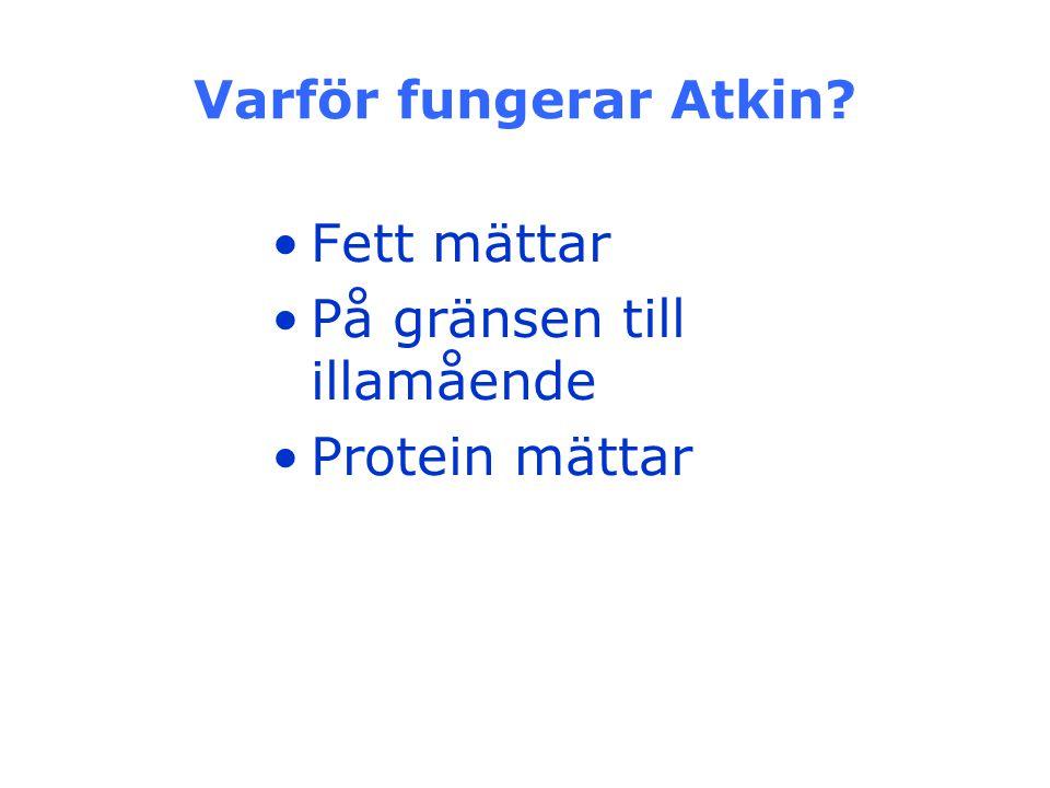 Varför fungerar Atkin? Fett mättar På gränsen till illamående Protein mättar