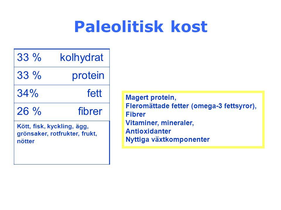 Paleolitisk kost 33 % kolhydrat 33 % protein 34% fett 26 % fibrer Kött, fisk, kyckling, ägg, grönsaker, rotfrukter, frukt, nötter Magert protein, Fler