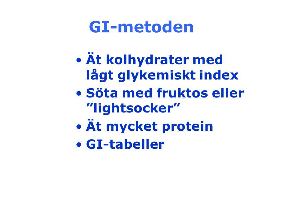 """GI-metoden Ät kolhydrater med lågt glykemiskt index Söta med fruktos eller """"lightsocker"""" Ät mycket protein GI-tabeller"""