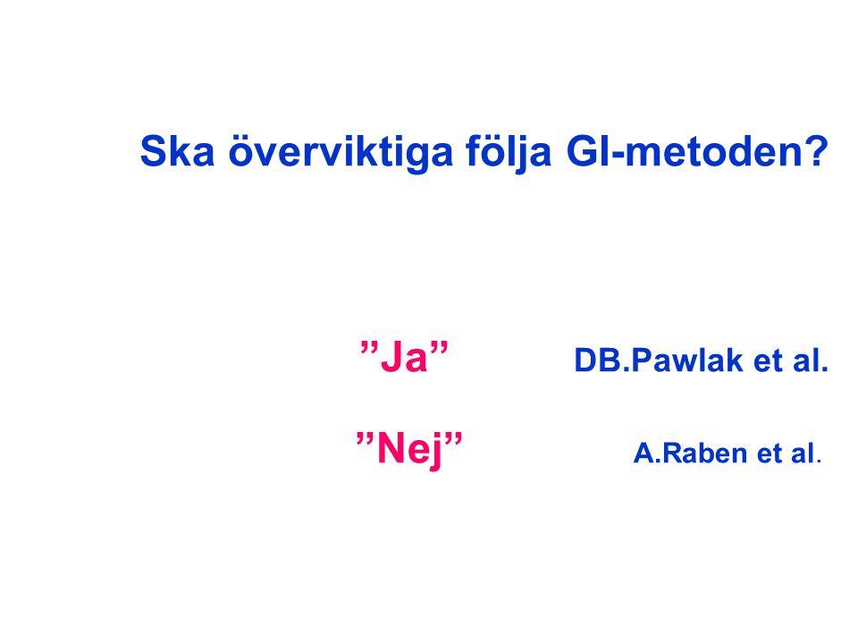 """Ska överviktiga följa GI-metoden? """"Ja"""" DB.Pawlak et al. """"Nej"""" A.Raben et al."""