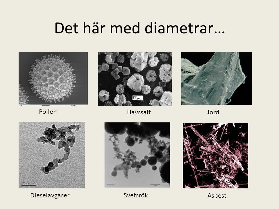 Det här med diametrar… Pollen HavssaltJord DieselavgaserSvetsrök Asbest