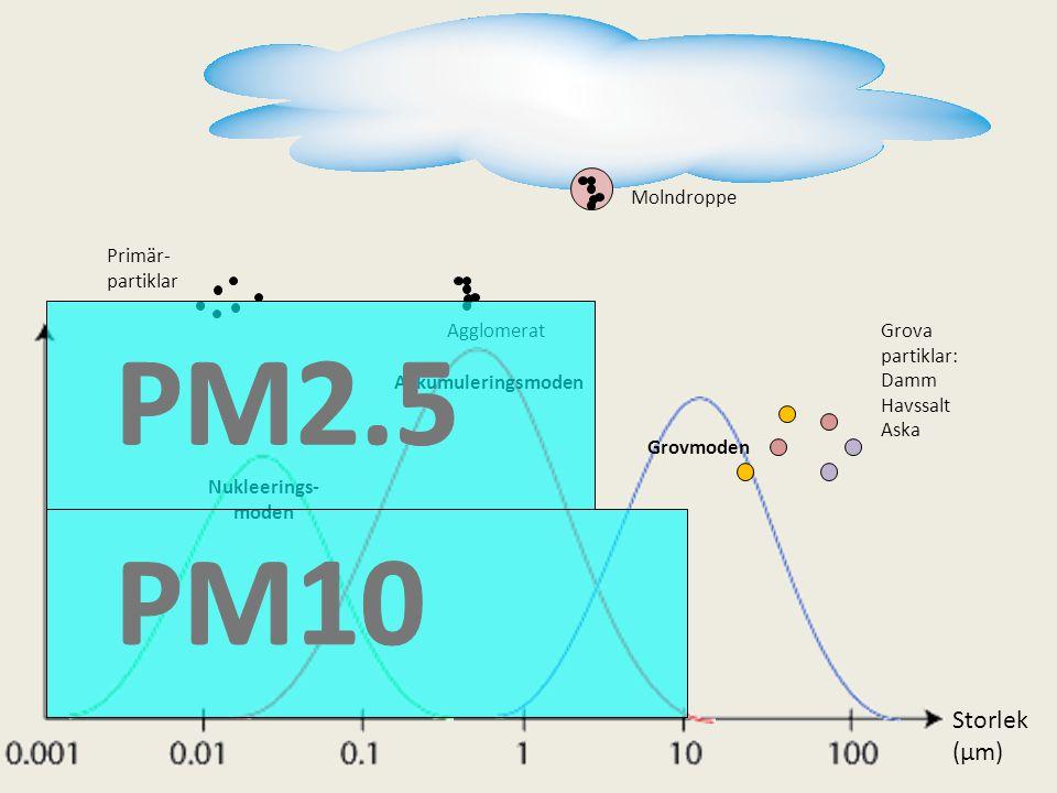 Molndroppe Primär- partiklar Ackumuleringsmoden Grovmoden Nukleerings- moden AgglomeratGrova partiklar: Damm Havssalt Aska Storlek (µm)