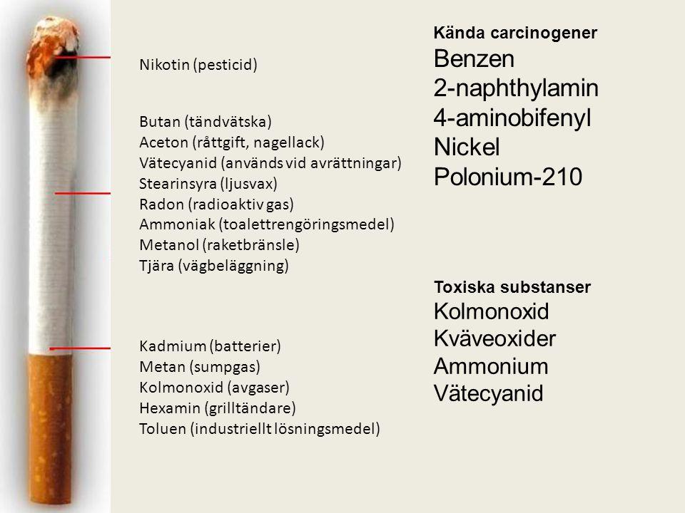 Kända carcinogener Benzen 2-naphthylamin 4-aminobifenyl Nickel Polonium-210 Toxiska substanser Kolmonoxid Kväveoxider Ammonium Vätecyanid Nikotin (pesticid) Butan (tändvätska) Aceton (råttgift, nagellack) Vätecyanid (används vid avrättningar) Stearinsyra (ljusvax) Radon (radioaktiv gas) Ammoniak (toalettrengöringsmedel) Metanol (raketbränsle) Tjära (vägbeläggning) Kadmium (batterier) Metan (sumpgas) Kolmonoxid (avgaser) Hexamin (grilltändare) Toluen (industriellt lösningsmedel)