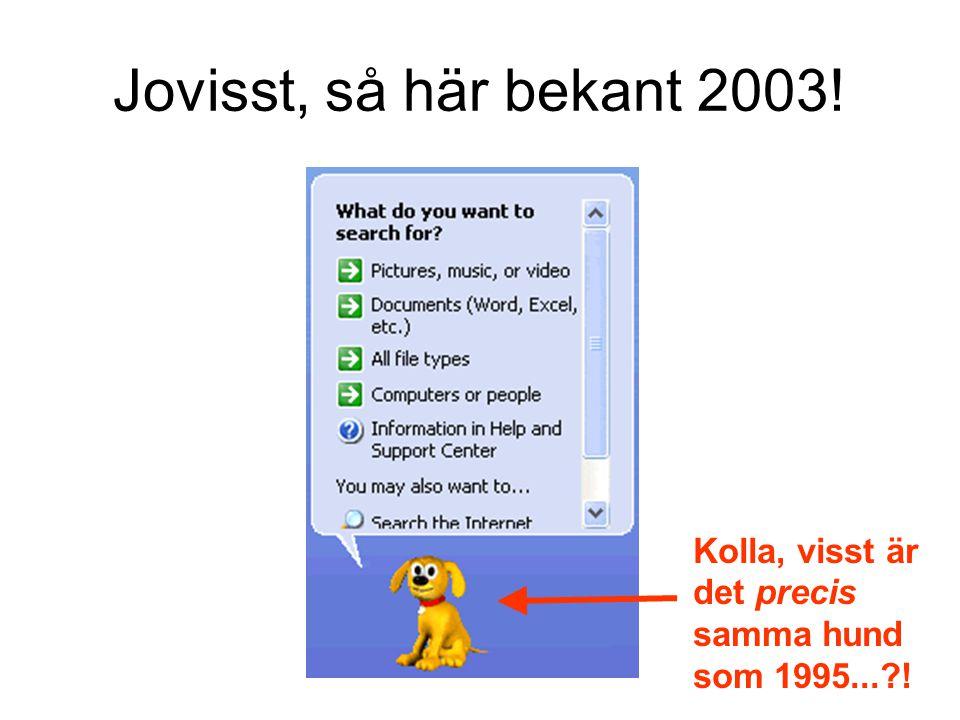 Jovisst, så här bekant 2003! Kolla, visst är det precis samma hund som 1995...?!
